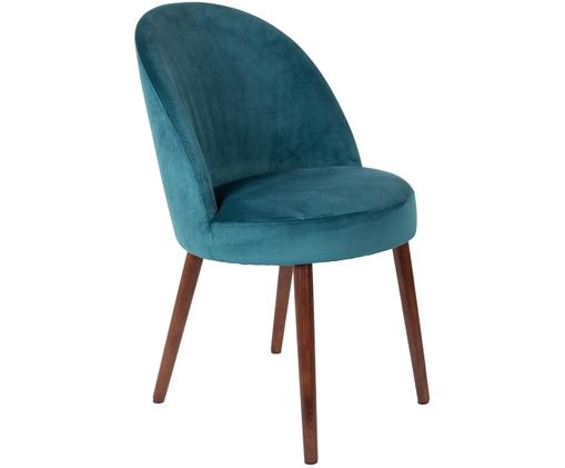 Sedia imbottita in velluto Barbara, Rivestimento: blu petrolio gambe: marrone noce