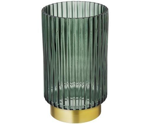 Vase en verre Lene, Vase: vert, transparent Socle: couleur dorée, mat