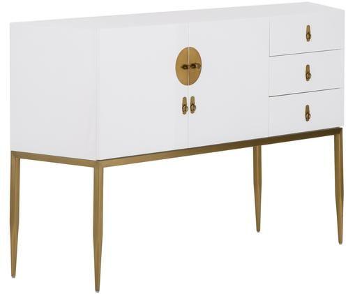 Dressoir Classy in wit hoogglans, Frame: gelakt MDF, Frame: hoogglanzend wit. Beslag en poten: goudkleurig, 135 x 92 cm