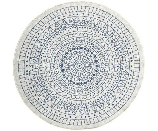 Rond omkeerbaar tapijt voor binnen en buiten met patroon, Blauw, crèmekleurig