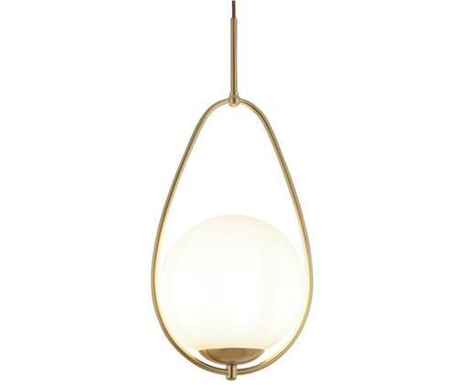 Lampa wisząca Avalon, Biały, odcienie złotego, Ø 23 x W 51 cm