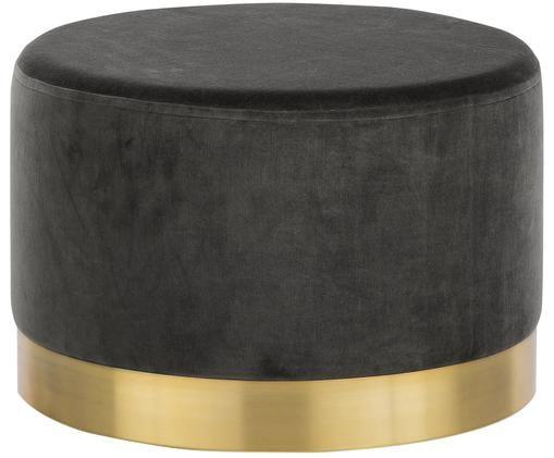 Puf z aksamitu Harlow, Tapicerka: aksamit bawełniany, Szary, odcienie złotego, ∅ 60 x W 40 cm