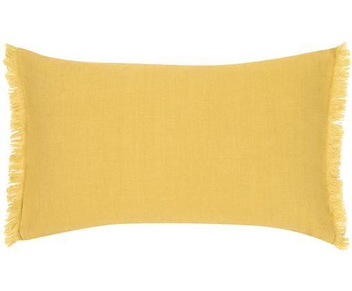 Federa arredo in lino con frange Luana, Lino, Giallo, Larg. 30 x Lung. 50 cm
