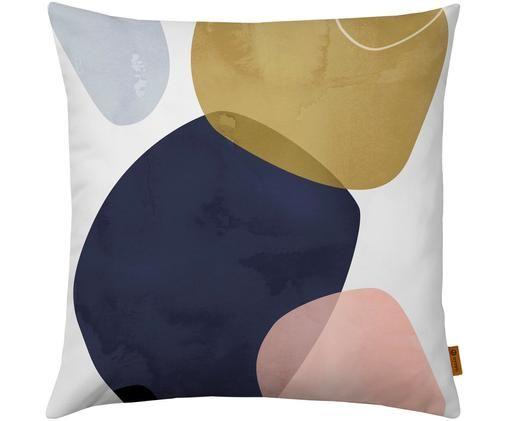 Kissenhülle Graphic mit geometrischem Print, Polyester, Blau, Gold, Weiß, 50 x 50 cm