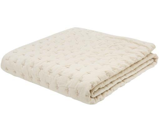 Copriletto in velluto Nellie, Retro: cotone, Fronte: bianco latteo, bianco retro: bianco latteo, Larg. 140 x Lung. 220 cm