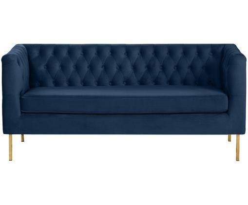 Fluwelen Chesterfield bank Chiara (2-zits), Bekleding: fluweel (polyester), Frame: massief berkenhout, Poten: gegalvaniseerd metaal, Blauw, B 170 x D 72 cm