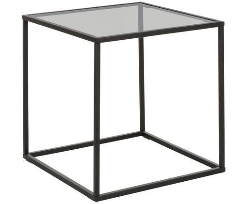 Beistelltisch Maya mit Glasplatte, Tischplatte: Glas, schwarz getöntGestell: Schwarz, matt