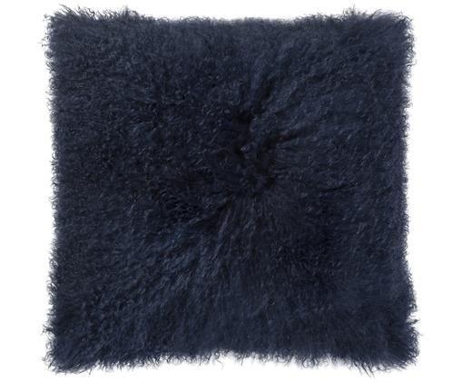 Langhaar-Schaffell Kissen Curly, mit Inlett, Vorderseite: Schaffell, Rückseite: Baumwollsamt, Dunkelblau, 50 x 50 cm