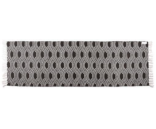 Gemusterter Baumwollläufer Jasper in Schwarz/Weiß, Weiß, Schwarz, 70 x 200 cm