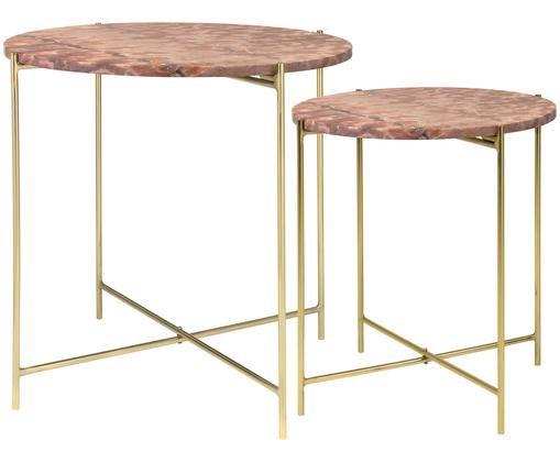 Set 2 tavolini con piano in marmo Freja, Piano d'appoggio: marmo, Gambe: metallo verniciato, Rosso, marmorizzato, Diverse dimensioni