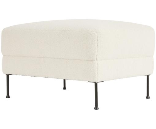 Sofa-Hocker Fluente aus Teddystoff, Bezug: Polyester (Teddyfell) 40., Gestell: Massives Kiefernholz, Füße: Metall, lackiert, Cremeweiß, 75 x 45 cm