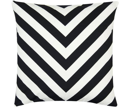Housse de coussin noir et blanc imprimé zigzag Lena, Noir, crème