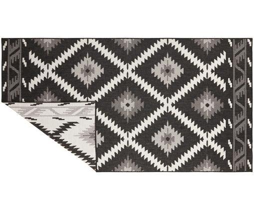 Dubbelzijdig in- & outdoor vloerkleed Malibu in ethno stijl, zwart-wit, Zwart, crèmekleurig