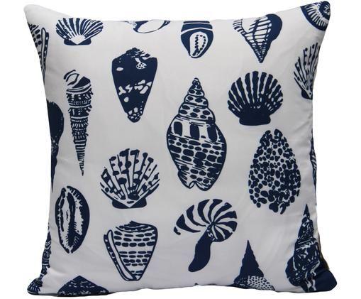 Kissenhülle Aga mit Muschelmotiven, Polyester, Weiß, Blau, 40 x 40 cm