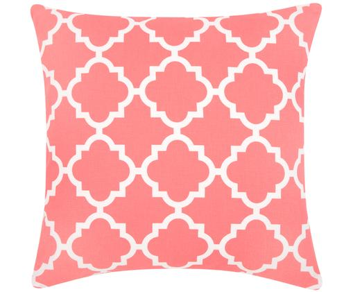 Kissenhülle Lana mit grafischem Muster, Baumwolle, Korallfarben, Weiß, 45 x 45 cm