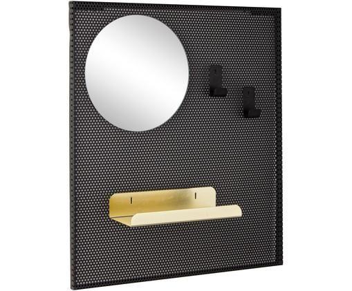 Appendiabiti da parete con specchio Metric, Metallo rivestito, Nero, Larg. 40 x Alt. 46 cm