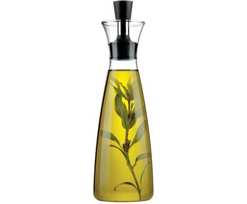 Design azijn- en oliedispenser Eva Solo, Glas, edelstaal, kunststof, Transparant, zwart, edelstaalkleurig, 0,5 l