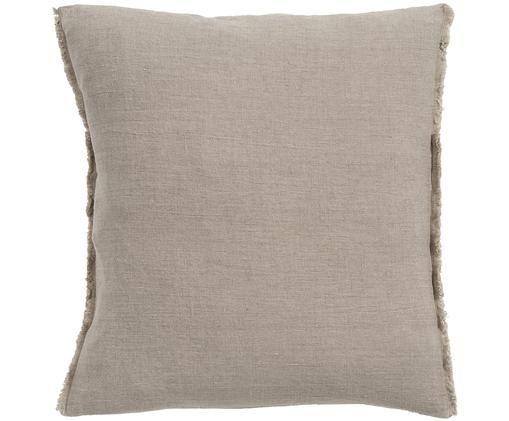 Cuscino in lino Sunshine Fringe, Rivestimento: lino, Taupe, P 50 x L 50 cm