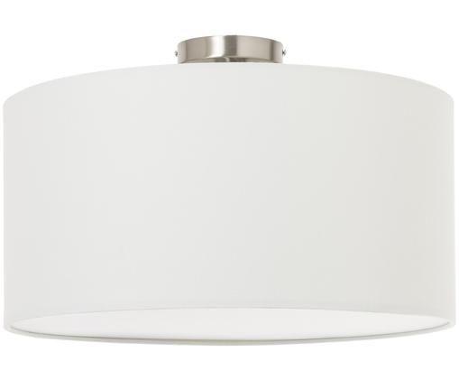 Deckenleuchte Basixx aus Leinen, Lampenschirm: Leinen, Weiß, Ø 50 x H 35 cm