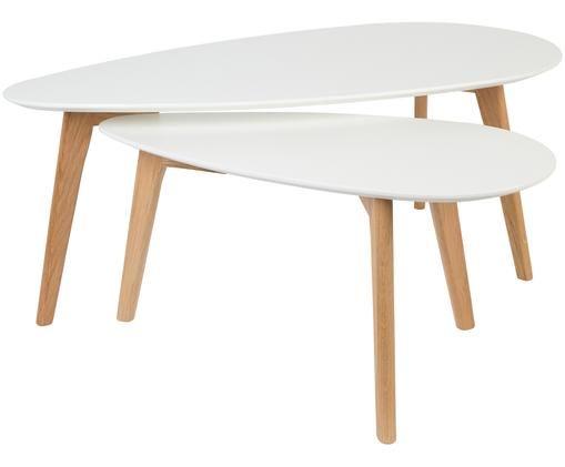 Couchtisch 2er-Set Nordic im Skandi Design, Tischplatten: Weiß Beine: Eiche