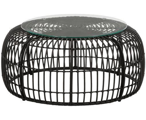 Garten-Couchtisch Costa mit Kunststoff-Geflecht, Tischplatte: Glas, Stärke, Gestell: Polyethylen-Geflecht, Schwarz, Ø 85 x H 42 cm