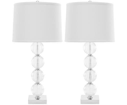 Große Tischleuchten Luisa, 2 Stück, Lampenschirm: 100% Polyester, Lampenfuß: Glas, Metall, Lampenschirm: Weiß<br>Lampenfuß: Transparent, Ø 38 x H 76 cm