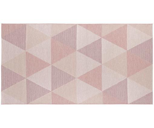 Tappeto da interno-esterno Sevres, Polipropilene, Tonalità rosa, tonalità beige, Larg. 80 x Lung. 150 cm (taglia XS)