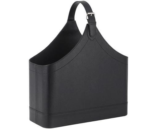 Stojak na czasopisma Ready, Stelaż: tektura, Tapicerka: poliuretan, Stojak na czasopisma: czarny Obudowa: metal, S 40 x W 45 cm