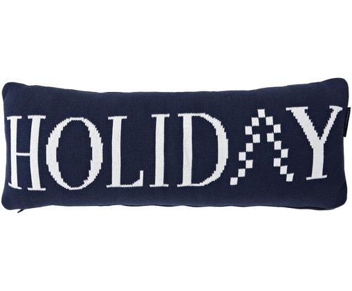 Langes Strick-Kissen Knitted Holiday mit Schriftzug, mit Inlett, Dunkelblau, Weiß