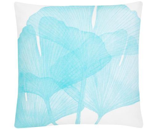 Poszewka na poduszkę Ginko, 100% bawełna, Biały, niebieski, S 45 x D 45 cm