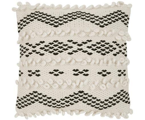 Boho Kissenhülle Paco mit dekorativer Verzierung, 80% Baumwolle, 20% Polyester, Ecru, Schwarz, 45 x 45 cm