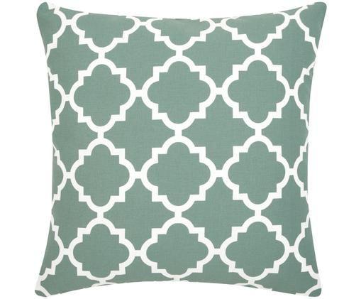 Poszewka na poduszkę Lana, 100% bawełna, Szałwiowa zieleń, biały, S 45 x D 45 cm