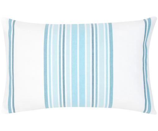 Poszewka na poduszkę Lin, Bawełna, Kremowobiały, niebieski, S 30 x D 50 cm
