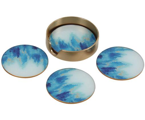 Komplet podstawek Stardust, 5 elem., Szkło, korek, Niebieski, biały, Ø 11 cm