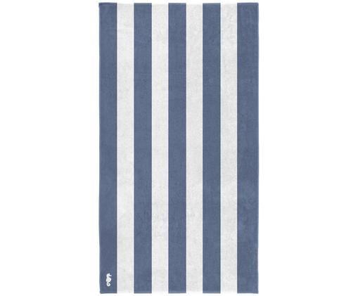Ręcznik plażowy Vamos, Egipska bawełna, średnia gramatura 420 g/m, Niebieski, biały, S 100 x D 180 cm