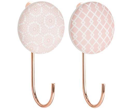 Komplet haków ściennych z ceramiki Ariola, 2 elem., Front: różowy, kremowy Hak: odcienie miedzi, D 11 x S 6 cm