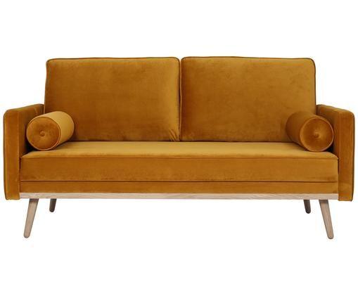 Sofa z aksamitu Saint (2-osobowa), Tapicerka: aksamit (poliester) 3500, Stelaż: masywne drewno sosnowe, p, Tapicerka: brunatnożółty Nogi i rama: drewno dębowe, S 169 x G 87 cm
