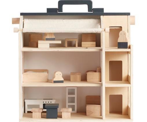 Puppenhaus Aiden, Holz, Holz, Grau, 34 x 39 cm