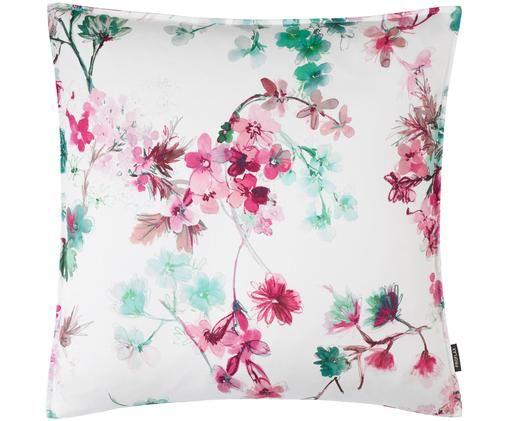 Poszewka na poduszkę Fabienne, Bawełna, Biały, odcienie bladego różu, odcienie zielonego, S 40 x D 40 cm