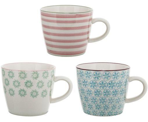 Set tazze Patrizia, 3 pz., Terracotta, Bianco, verde, blu, rosso, Ø 10 x A 8 cm