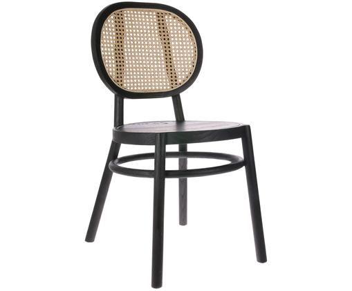 Stuhl Retro, Wiener Geflecht: Zuckerrohr, Schwarz, B 45 x T 54 cm