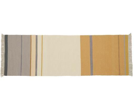 Ręcznie tkany dywan z wełny z frędzlami Metallum, Wielobarwny, S 80 x D 250 cm