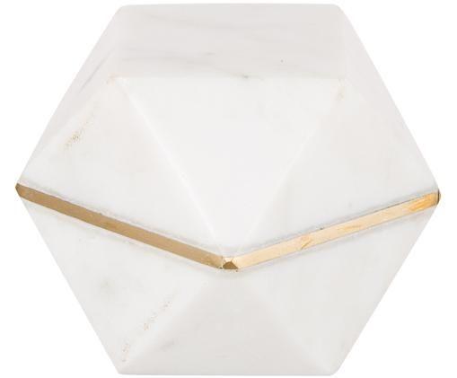Przycisk do papieru Tosca, Biały, marmurowy, odcienie złotego