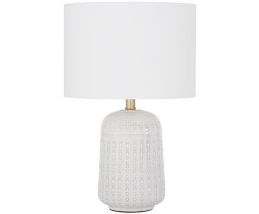 Lampe à poser en céramique Iva, Abat-jour: blanc pied de lampe: blanc crème, laiton