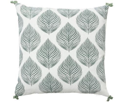 Kissenhülle Ellison mit Blattmuster, Baumwolle, Grün, Weiß, 45 x 45 cm