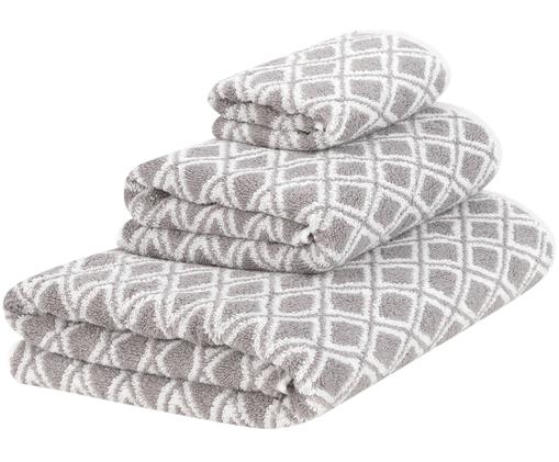 Set asciugamani reversibili Ava, 3 pz., 100% cotone, qualità media 550g/m², Grigio, bianco crema, Diverse dimensioni