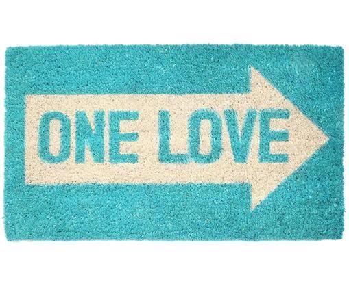 Wycieraczka One love, Turkusowy, kremowy, S 40 x D 70 cm