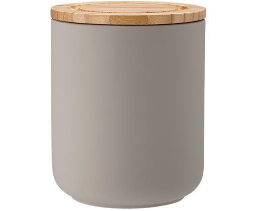 Aufbewahrungsdose Stak, Dose: Keramik, Deckel: Bambusholz, Steingrau, Bambus, Ø 10 x H 13 cm