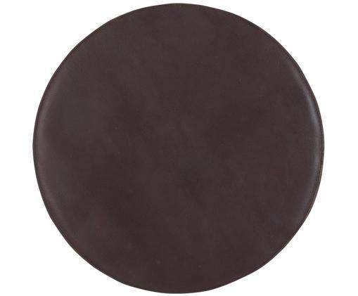 Leder-Sitzauflage Elegance, Vorderseite: 100% Leder, Rückseite: 100% Baumwolle, Dunkelbraun, Ø 37 cm