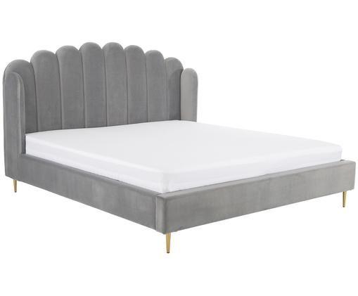 Łóżko tapicerowane z aksamitu Glamour, Korpus: lite drewno sosnowe, Nogi: metal mosiądzowany, Tapicerka: aksamit (poliester) 100 0, Tapicerka: brudny różowy Nogi: odcienie złotego, błyszczący, 180 x 200 cm
